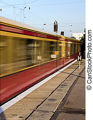 Moving S-Bahn in Berlin with motion blur
