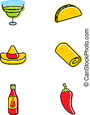 Mexican Food Icons - A variety of different Mexican food...
