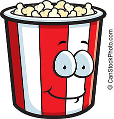 Popcorn Smiling - A cartoon popcorn bucket smiling and happy...