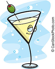 Drunk Martini - A cartoon martini with a drunk expression.