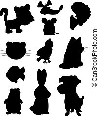 Pet Silhouettes - A variety of different cartoon pet...