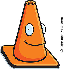 Traffic Cone Smiling - A cartoon orange traffic cone smiling...