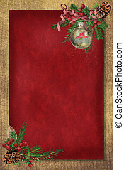 Christmas Corner - Pine bough with berries and hanging...