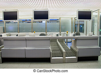 Check in counter at the airport - Empty check in counter at...