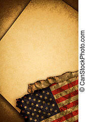 USA flag and old paper - USA flag and old document papers