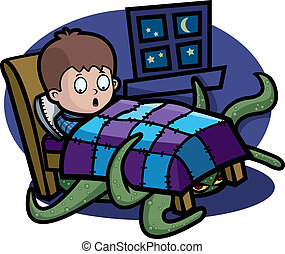 Monster Under Bed - A cartoon child in bed with a monster...