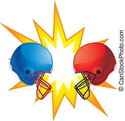 Helmets Clashing - Two rival football helmets clashing...
