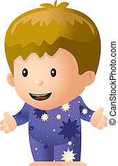 Boy Pajamas - A cartoon boy in his pajamas smiling