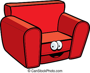 Cartoon Chair - A cartoon red chair smiling and happy.