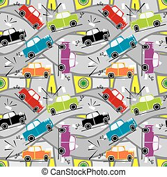 seamless pattern car crash - fully editable vector...