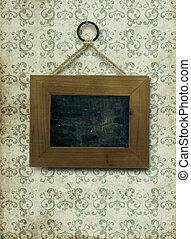 vazio, madeira, Quadro, fixo, antigas, Sujo, parede,...
