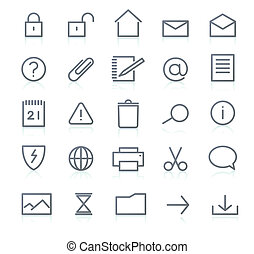 Icons set - set of elegant simple icons for common computer...