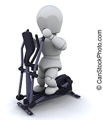 crosstrainer - 3D render of a man on a crosstrainer