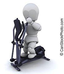 crosstrainer - 3D render of a man on a crosstrainer