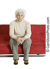 elderly woman on the couch