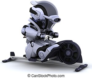 rowing machine - 3D render of a robot on a rowing machine