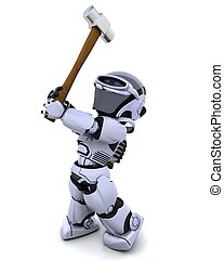 robot with a sledge hammer - 3D render of robot with a...