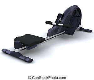 rowing machine - 3D render of a rowing machine isolated on...
