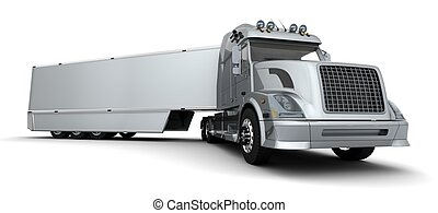 American sem -truck - 3D render of a silver American...