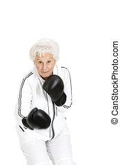 mulher, luvas, boxe, Idoso