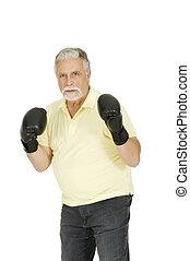 boxe, luvas, Idoso, homem