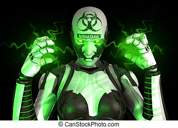 Bio warfare cyborg - quality 3d illustration of a advanced...