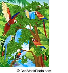 Parrot - Vector illustration of parrot in the beautiful...