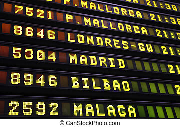 Airport departures - Departure board at an airport in Spain....
