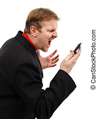 Yelling on phone - Impatient business man yelling on mobile...