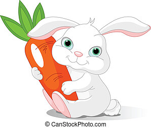 Rabbit holds giant carrot - Small lovely rabbit holds giant...