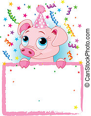 Piglet Birthday - Adorable Piglet Wearing A Party Hat
