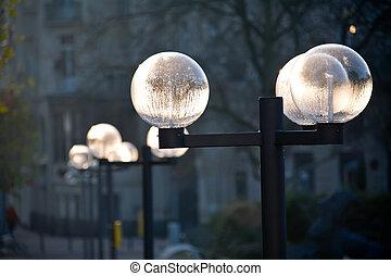 street lanterns in a park