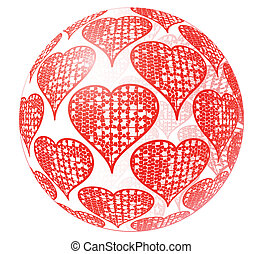 Glass sphere with red ornament of heart - Valentine's day...