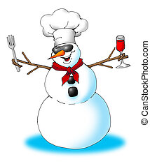 SnowMan Chef - Image of an excited snowman wearing a chef's...