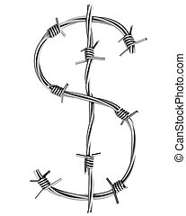 Barbed wire alphabet, dollar symbol