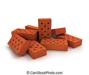Heap of orange bricks isolated on white background