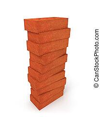Tower of orange bricks isolated on white background