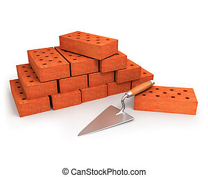 Trowel and stack of bricks isolated on white background