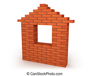 Abstract house made from orange bricks isolated on white...