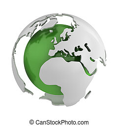 Abstract green globe, Europe isolated on white background