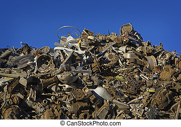 Giant Mountain of Scrap Metal - A huge mountain of sorted...