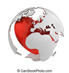 Globe with heart, Europe part isolated on white background