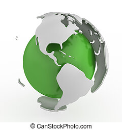 Abstract green globe, America isolated on white background