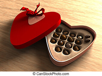 Chocolate valentine box with nice delicious chocolate peices
