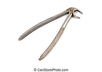 old dental pliers on a white background