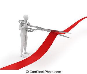 3D white man cuts ribbon