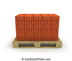 Stack of orange bricks on pallet, isolated on white...