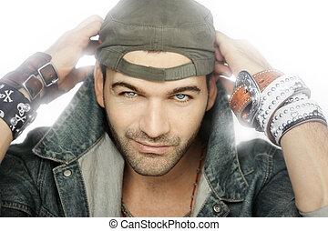 Male Model - Fashion portrait of male model with bracelet...