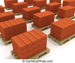 Lot of stacks of orange bricks with pallets isolated
