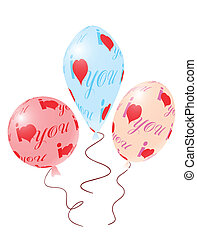 Balloons with red ornament of heart symbols - Valentines day...